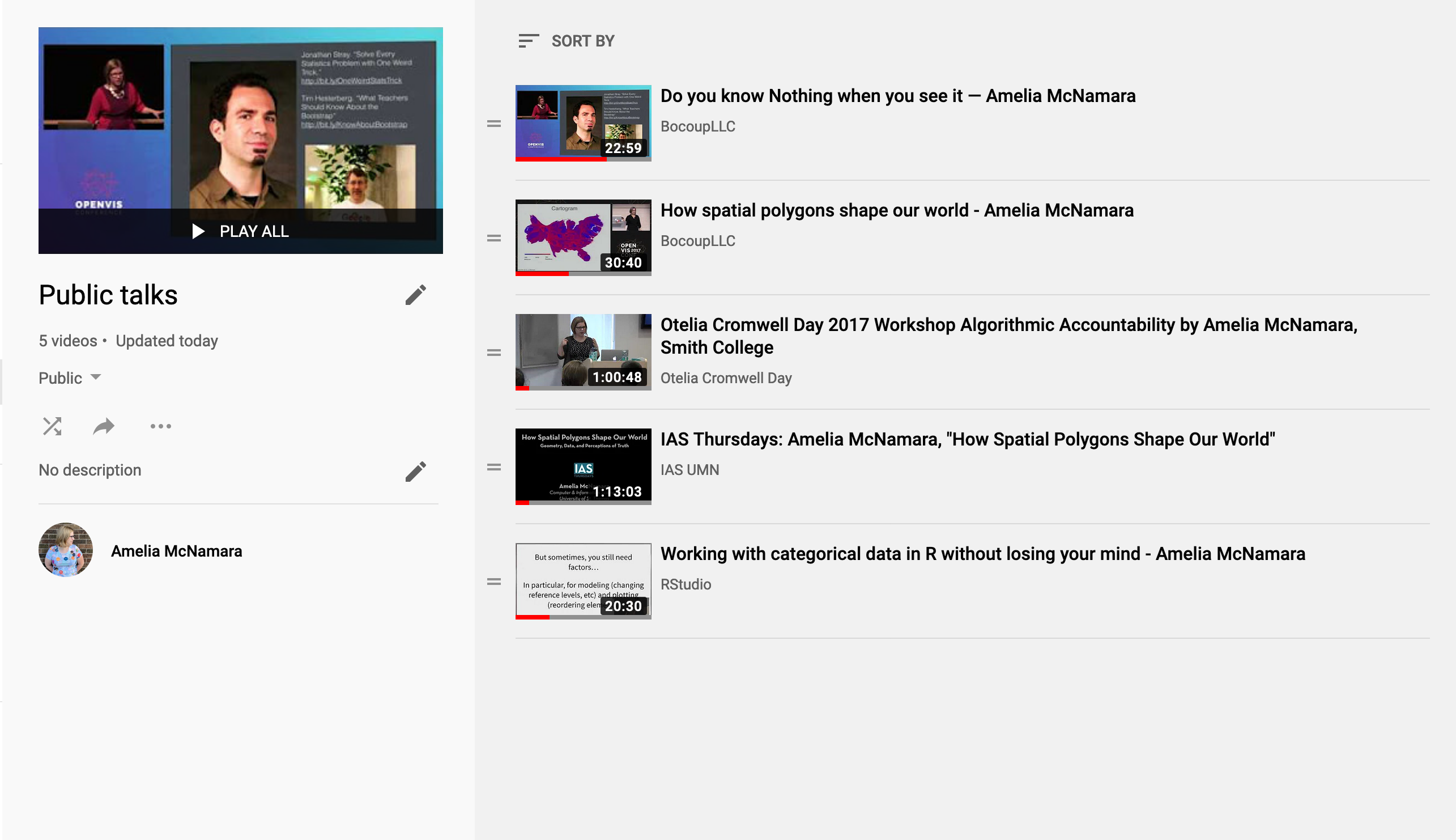 Videos of talks I've given on YouTube